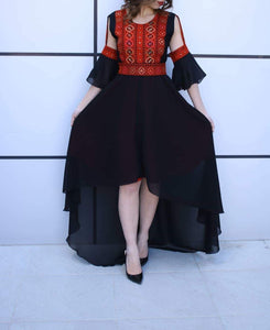 Breathtaking Palestinian Dress Special Style Short Front Open Stylish Sleeves Black and Red Embroidery