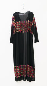 Light black embroidered long kimono/abaya with belt - Falastini Brand