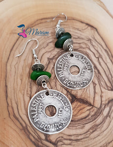 Handmade earrings with the Palestinian old coin - Falastini Brand