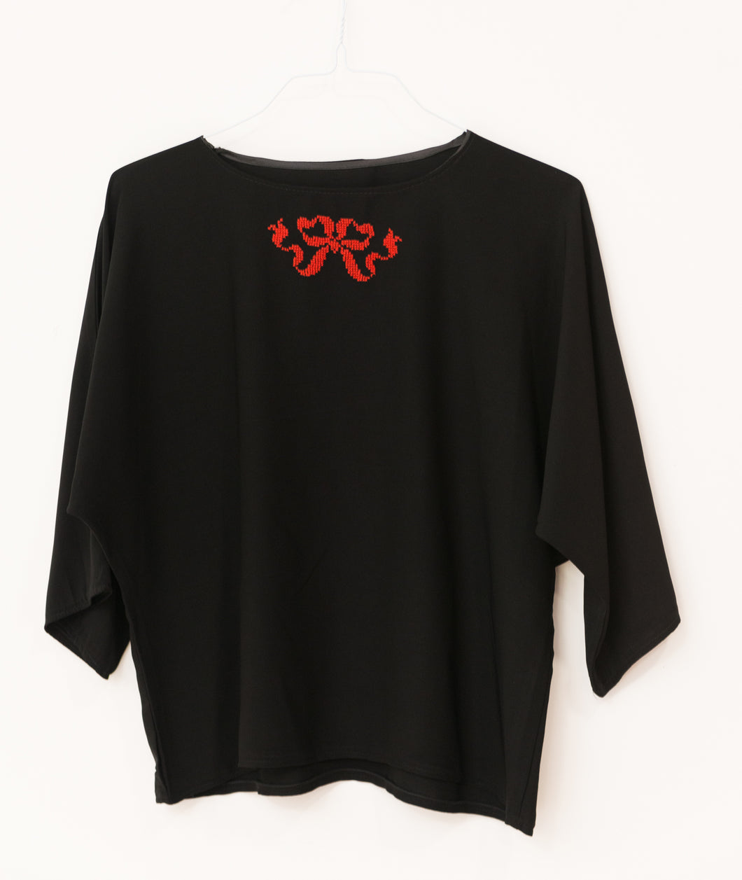Black blouse with red embroidery - Falastini Brand