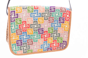 Camel base multi color embroidery handbag - Falastini Brand