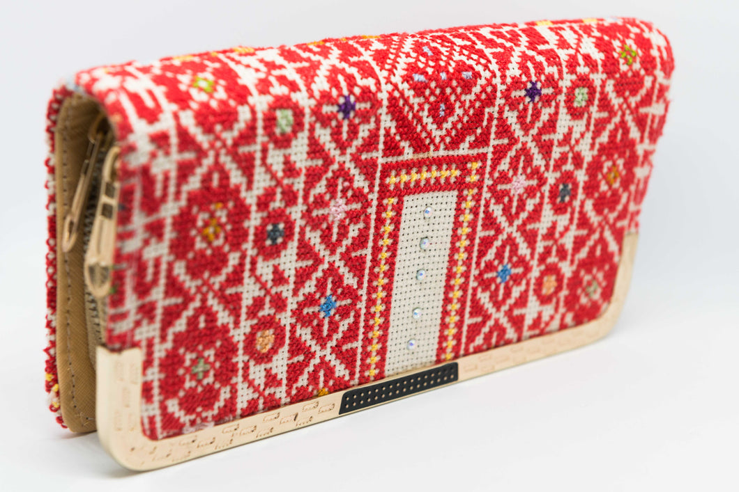 Embroidered two zippers purse - Falastini Brand