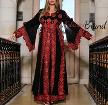 Layered Princess Palestinian Embroidered Thobe Maxi Dress Long Sleeves Kaftan Palestinian Design And Embroidery