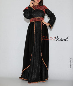 Gorgeous 2 Pieces Black Long Dress Long Sleeve