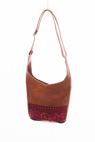 Leather camel hobo with red embroidery diamond print - Falastini Brand