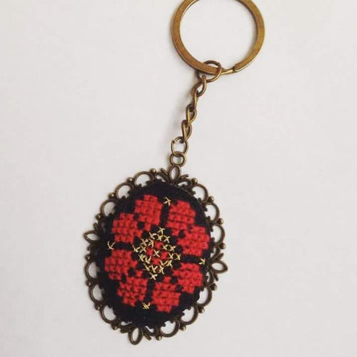 Hand embroidered black and red keychain - Falastini Brand