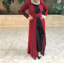 Amazing All Long Red Embroidery Palestinian Open Abaya Long Sleeve