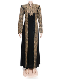 The queen dress - Black and golden embroidered maxi dress