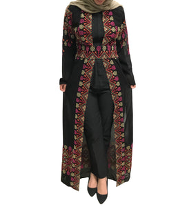 Light Black Floral Embroidered Long Kimono/Abaya With Belt