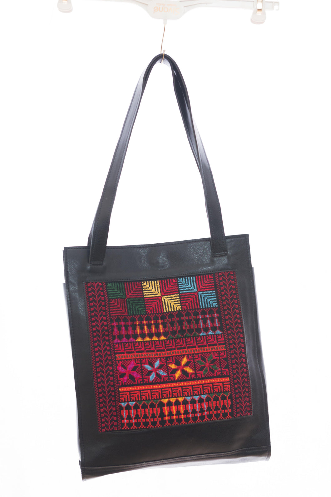 Square shaped handbag with special leather and traditional Palestinian embroidery - Falastini Brand