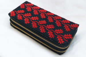 Black and red wallet embroidery - Falastini Brand