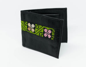 Small black leather wallet with hand embroidery