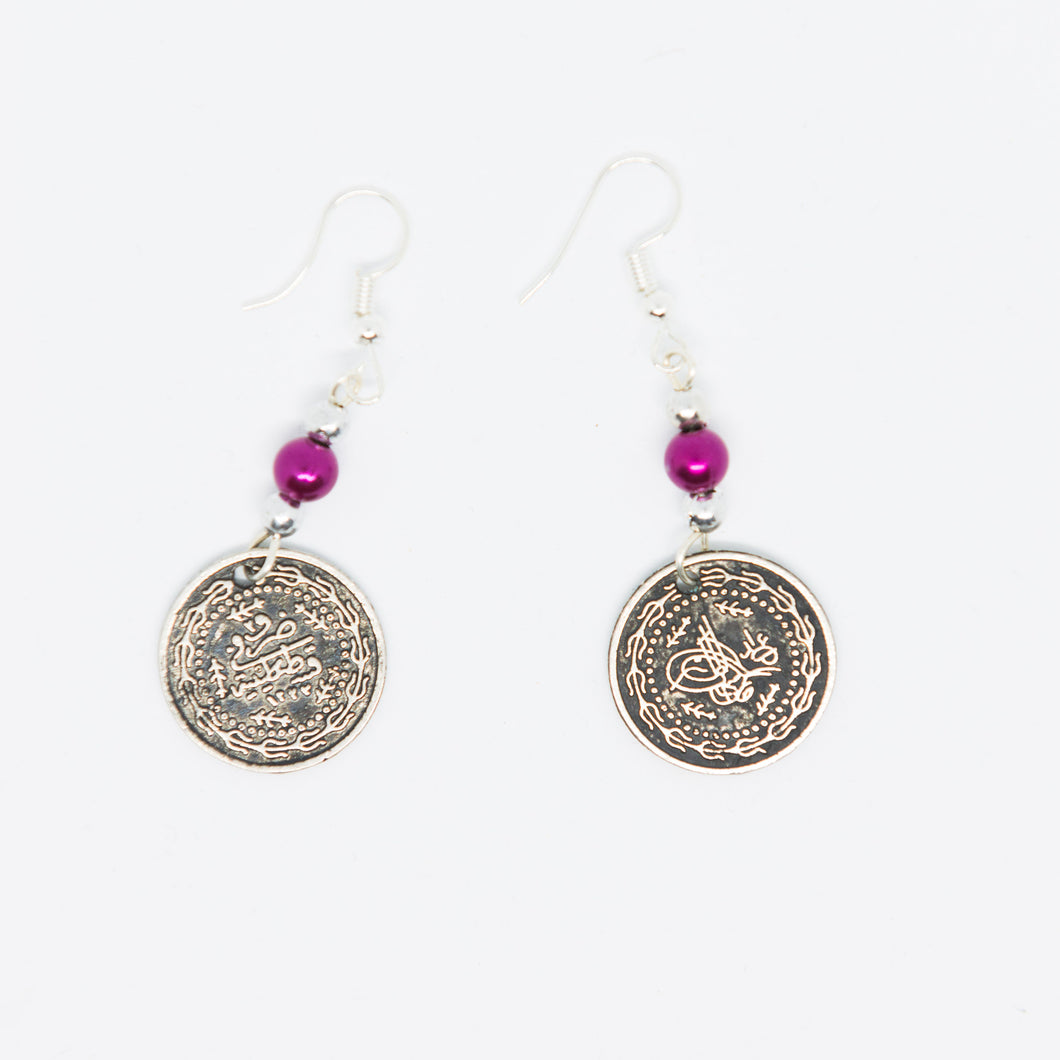 Handmade vintage old Palestinian coin earrings with purple beads - Falastini Brand