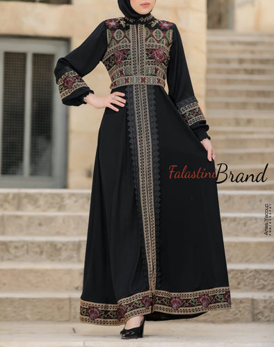 Soft Stunning Palestinian Embroidered Zipper Detail Abaya Red & Golden Embroidery