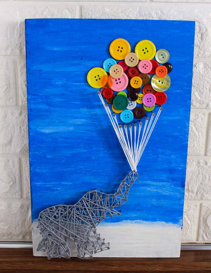 Handmade cute elephant string wall art with balloon buttons - Falastini Brand