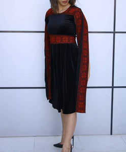 Stylish Black Velvet Short Dress With Beautiful Two Embroidered Lines Sleeve