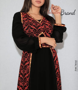 Gorgeous Black Long Dress Long Sleeve Stylish Red Embroidery