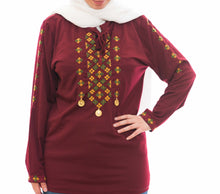 Vinous lycra blouse with hand embroidery - Falastini Brand