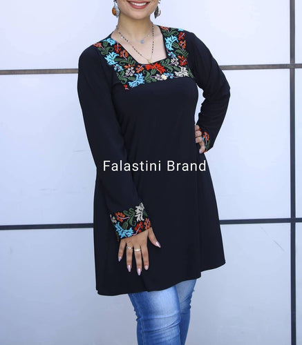 Elegant Long Black Embroidered Floral Blouse