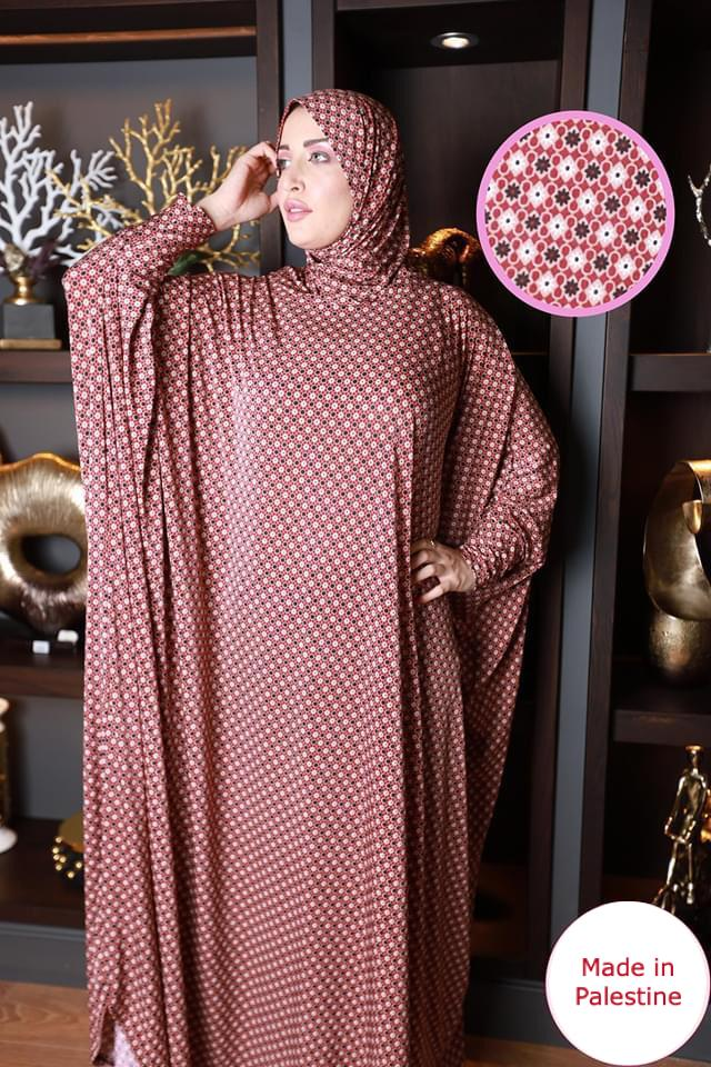 Free Size Orange/White Mix Prayer Dress Hijab Scarf Islamic Abaya Lycra Soft Prayer Clothes