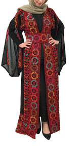 Black And Red Georgette Embroidered Open Abaya Kaftan Maxi Dress Long Split Sleeve