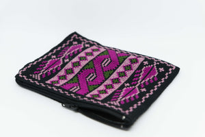 Small black wallet with pink hand embroidery for money and coins