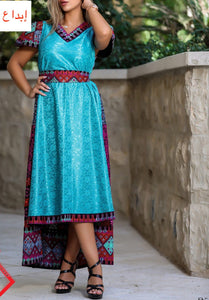 Gorgeous Blue Short Dress Short Sleeve Embroidered Back