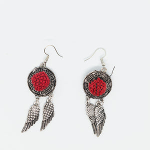 Silver earrings with red hand embroidery - Falastini Brand