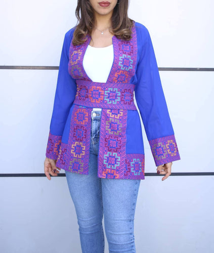 Royal Blue Georgette Open Jacket With Stylish Embroidery