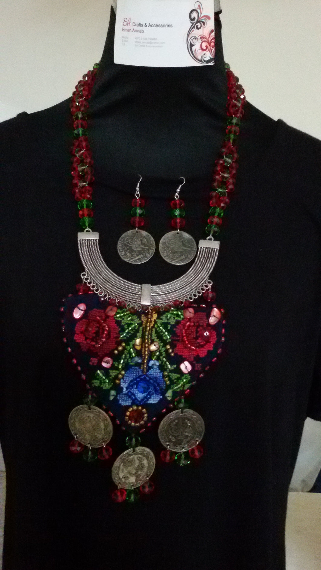 Handmade Boho style necklace and earrings set with Hebron stitch embroidery - Falastini Brand