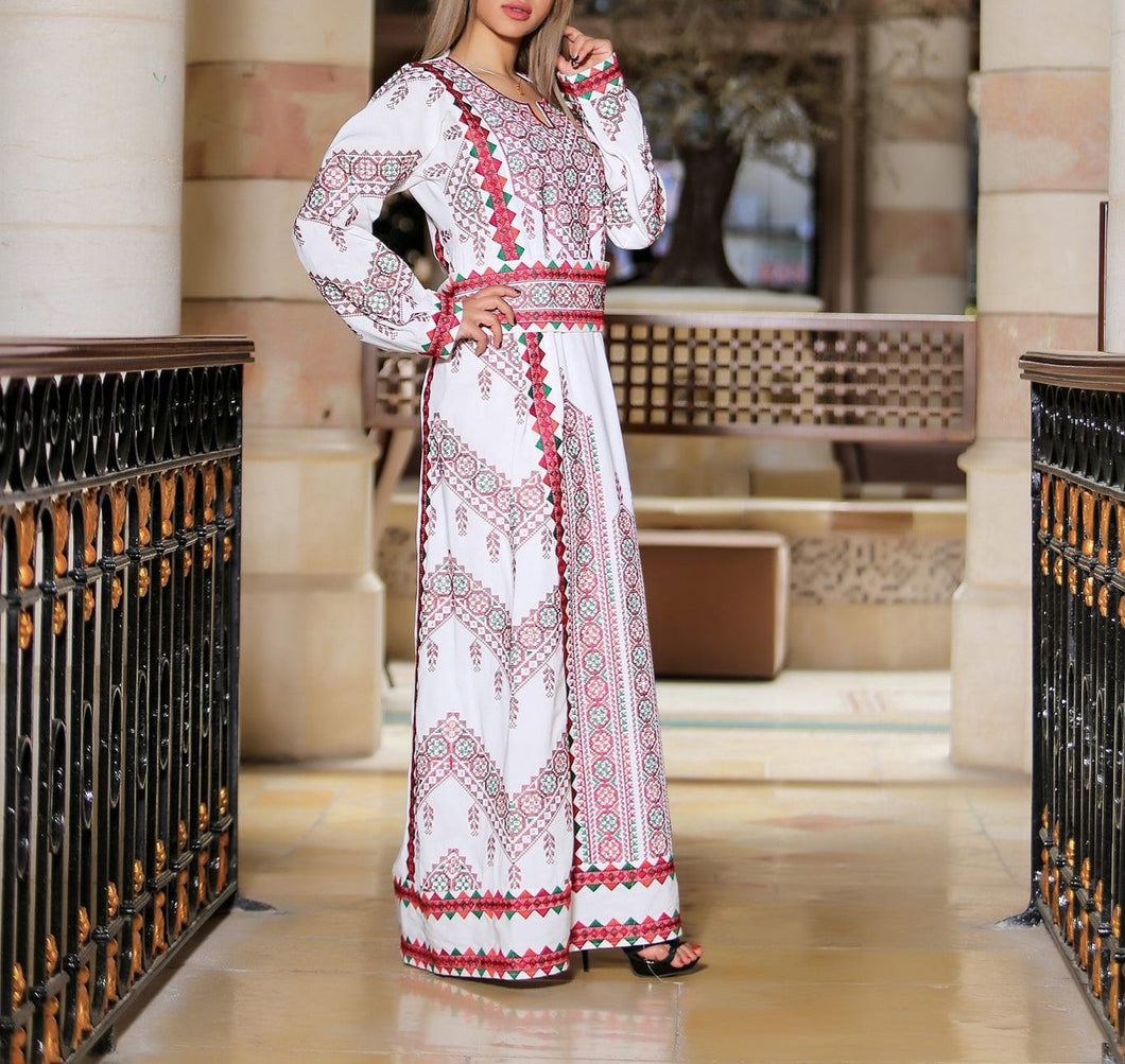 Manajil Samer Palestinian Embroidered White Thobe Maxi Dress Long Sleeves Kaftan Palestinian Embroidery