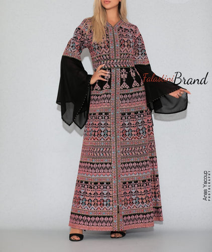 Version 5 Pink Palestinian Queen Thobe Embroidered Dress Long Sleeve Palestinian Design And Embroidery