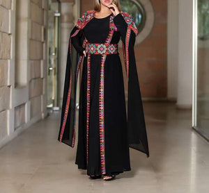 2 Pieces Royal Black Open Abaya With Fabulous Embroidery Long Slit Sleeves