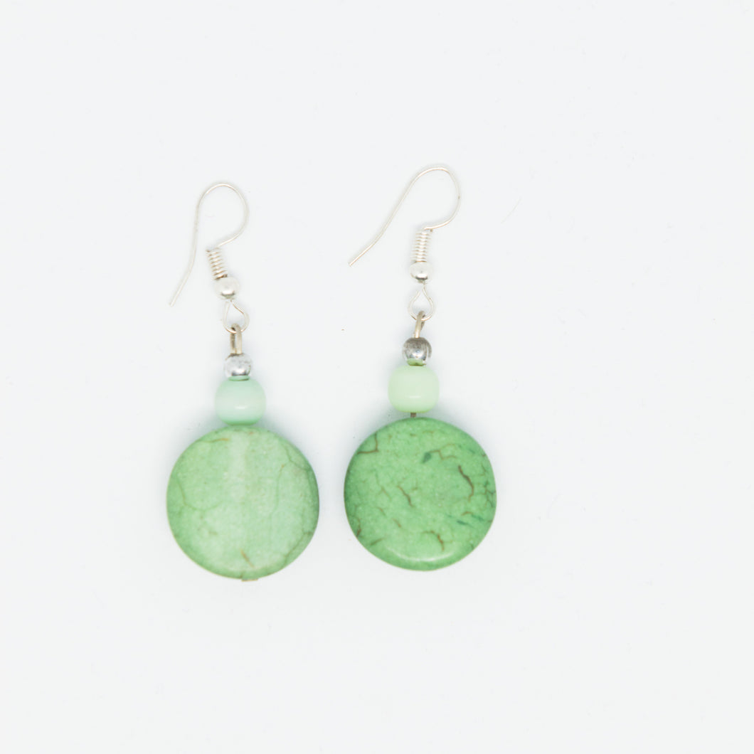 Handmade green beads earrings - Falastini Brand