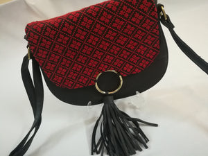 Black handbag with red embroidery - Falastini Brand