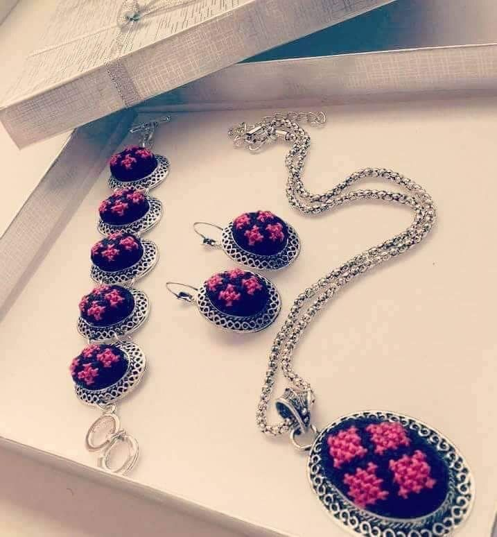 Jewelry set of pink, black and silver colored embroidery - Falastini Brand