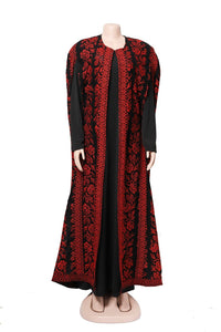 Royal black long embroidered cape with red embroidery