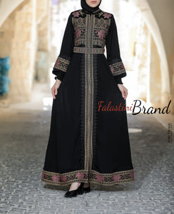 Soft Stunning Palestinian Embroidered Zipper Detail Abaya Pink & Golden Embroidery