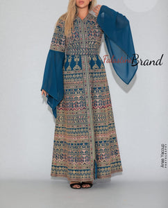 Version 5 Blue Palestinian Queen Thobe Embroidered Dress Long Sleeve Palestinian Design And Embroidery
