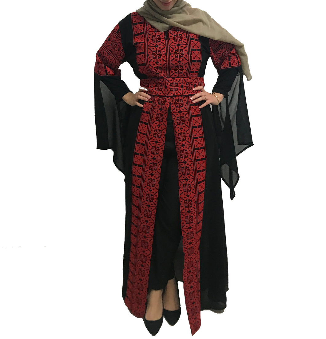 Black And Red Embroidered Palestinian Half Open Abaya Slit Sleeve