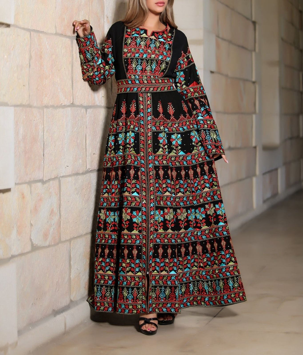 Version 2.4 Queen Thobe Embroidered Palestinian Maxi Dress Long Sleeves Kaftan Palestinian Design And Embroidery