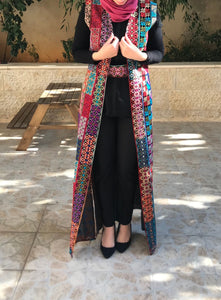 Mix Color Embroidered Palestinian Sleeveless Abaya