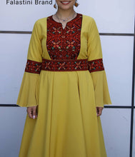Yellow Cloche Style Long Sheer Soft Georgette Red Embroidered Dress Abaya Long Bell Sleeve