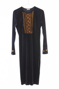 Navy velvet long dress with hand embroidery - Falastini Brand