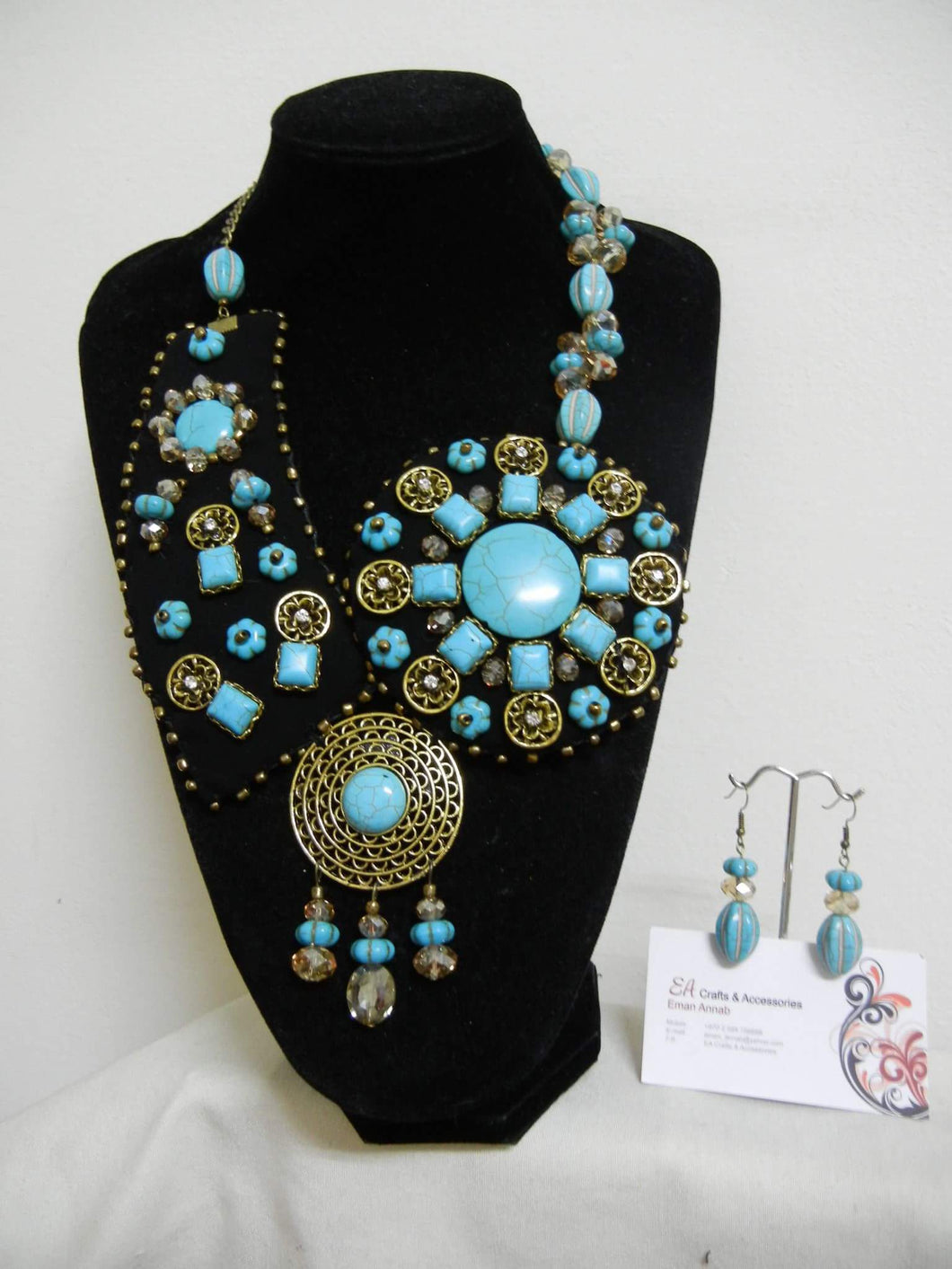 Handmade Boho style set of turquoise necklace and earrings - Falastini Brand