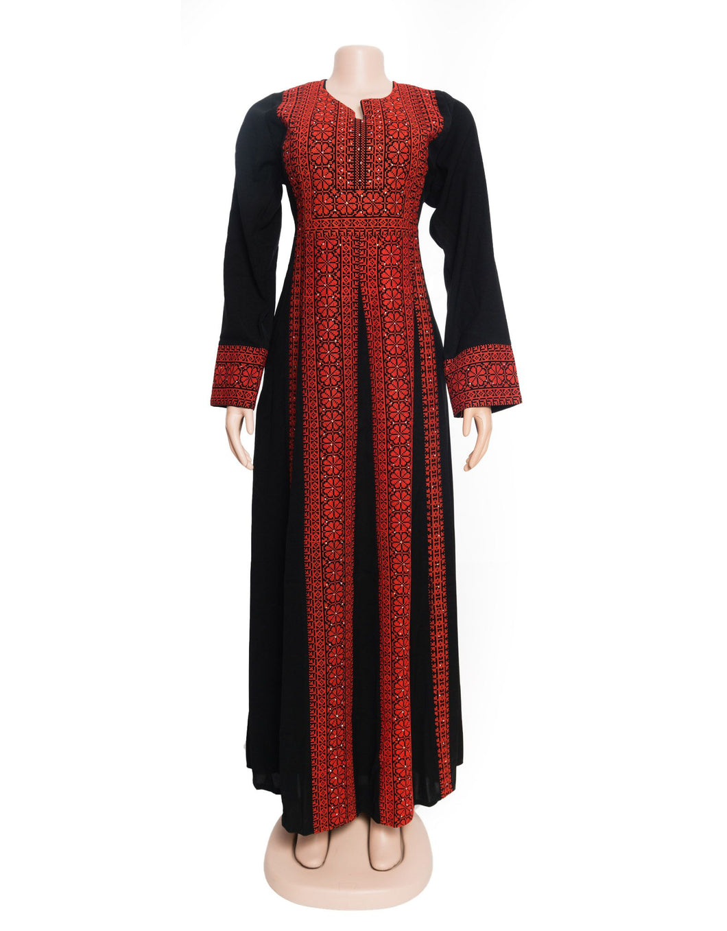 The Palestinian Asala dress - Black and red Palestinian embroidered dress