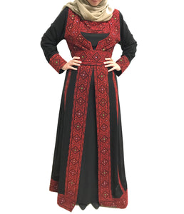 The New Star Dress Two Pieces Stylish Black And Red Embroidered Thobe Dress