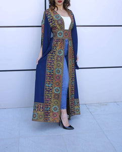 Navy Georgette Embroidered Open Abaya Kaftan Maxi Dress Long Split Sleeve