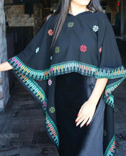 2 pieces stylish embroidered floral long shawl with long velvet dress