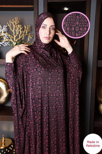 Free Size Dark Purple Mix Prayer Dress Hijab Scarf Islamic Abaya Lycra Soft Prayer Clothes
